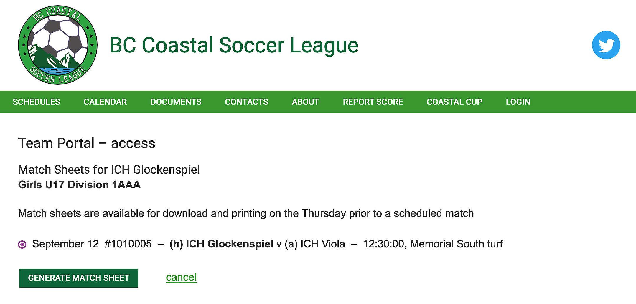 team portal match sheet match selection
